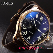 44mm Pranis black dial mineral crystal golden case 6497 hand winding movement Men's Watch
