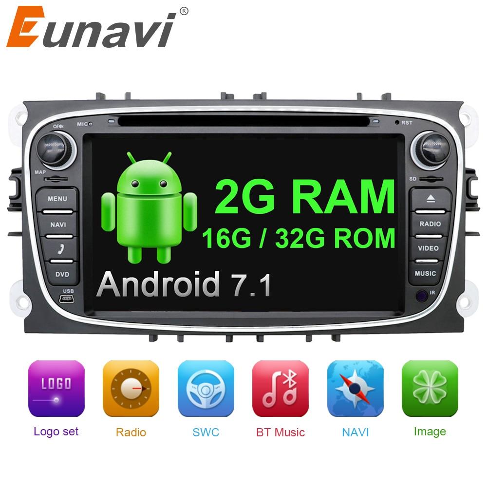 Eunavi 2 din Android 7.1 Quad Core Car DVD Player GPS Navi per Ford Focus Galaxy con Audio Radio Unità di Testa Stereo wifi 1024*600