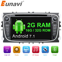 Eunavi 2 din Android 7.1 Quad Core Samochodowy Odtwarzacz DVD GPS Navi dla Ford Focus Galaxy z Audio Radio Radioodtwarzacz Stereo wifi 1024*600