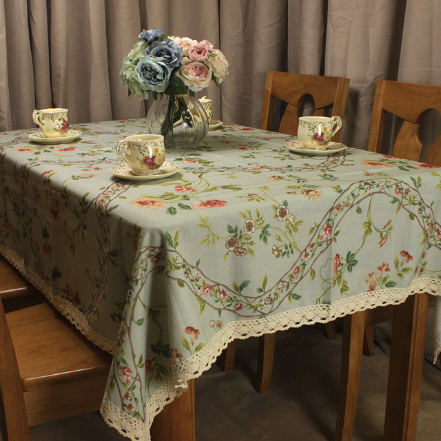 CURCYA Table Linen Light Blue Rectangle Tablecloths Thick Pastoral Flowers  Square Table Cover Wedding Home Decoration