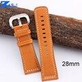 Alta qualidade pulseira de couro genuíno suave orange strap branco costurado pulseiras para Sexta watchs 28mm mens pulseira