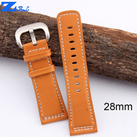 High quality Genuine Leather Watchband Smooth orange Strap white Stitched Bracelets For friday Watchs 28mm Mens bracelet