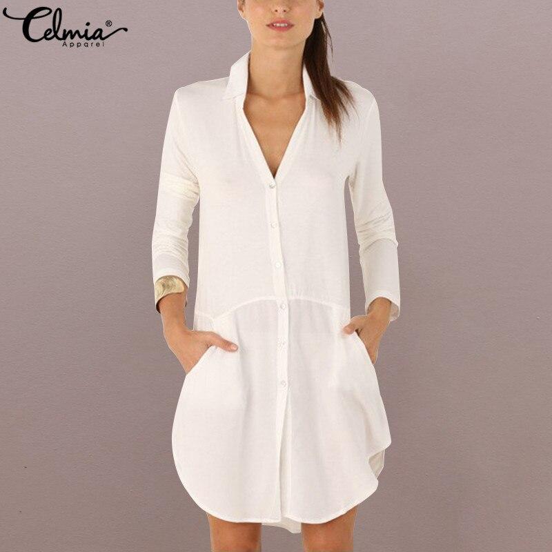 2018 Celmia Women White Shirt Dress Autumn Sexy V Neck Long Sleeve Short Mini Dresses Asymmetric Vestidos Robe Femme Plus Size
