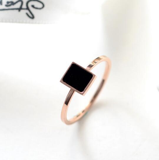 Rose gold color black square rings for women anel feminino, casual ring bague femme ringen anillos mujer stainless steel joias