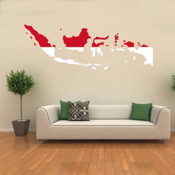flag map of indonesia wall vinyl sticker pattern custom home decor