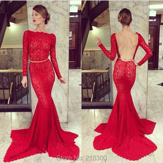 Red Long Sleeves Mermaid Lace Backless Prom Dresses Open Back Boat ...