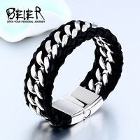 Beier 316L Stainless Steel One Piece Sale Genes Leather Bracelet Bangle For Man Punk Man S