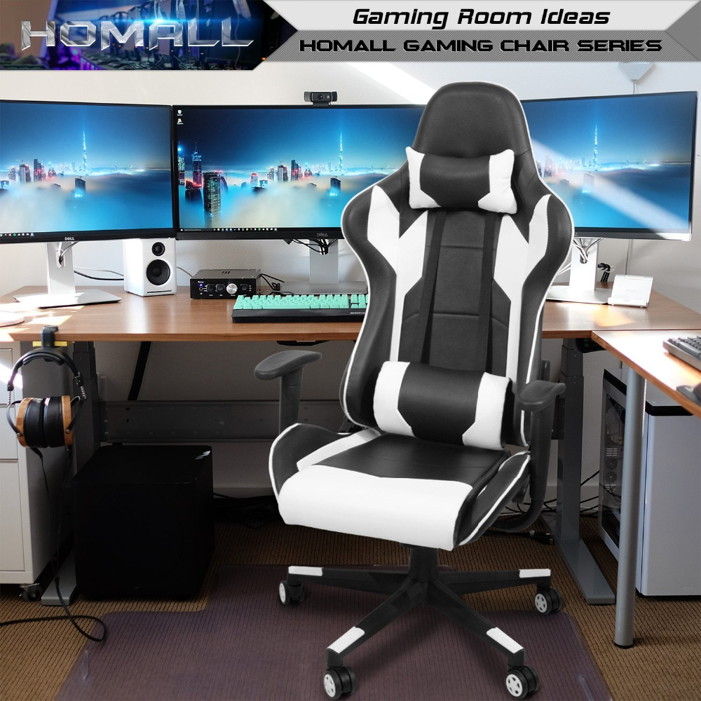 Homall Gaming Chair Racing Office Chair Leather Computer Desk Chair Adjustable Swivel Chair with Headrest and Lumbar Support Black