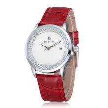 Novo design skone marca de moda quartz leather strap watch para as mulheres senhoras relógio casual com strass relógio de pulso