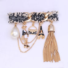 WEIMANJINGDIAN High Quality Vintage Style Queen's Tassel Charm Brooches Set with Imitation Shell Pearl in Assorted(China)