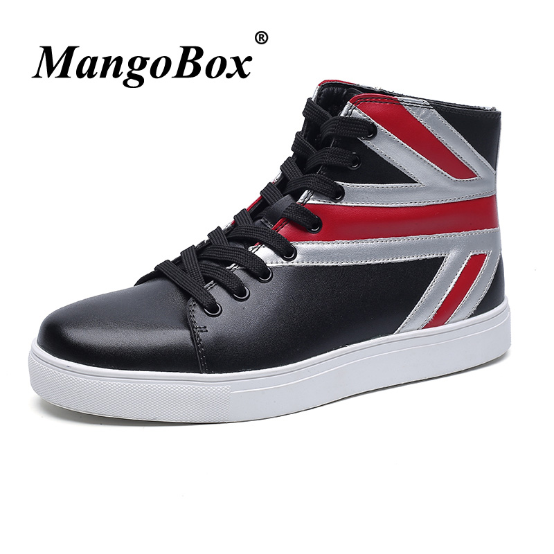Spring Autumn Men Pu Leather Boots Rubber Flats Boots For Men 2018 Fashion Red Ankle Boots Male High Top Designer Male Footwear