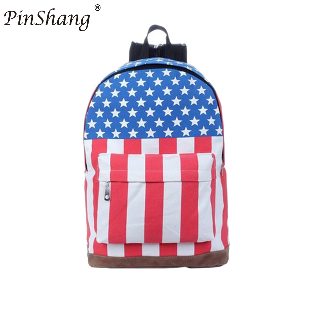 Pinshang Canvas School Bag Fashionable Style Backpack With American Flag Union Jack Design For Students Casual Backpack Zk25