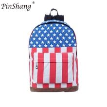 58c75615e7 PinShang Sacchetto di Scuola della Tela di canapa di Stile Alla Moda Zaino  con la Bandiera