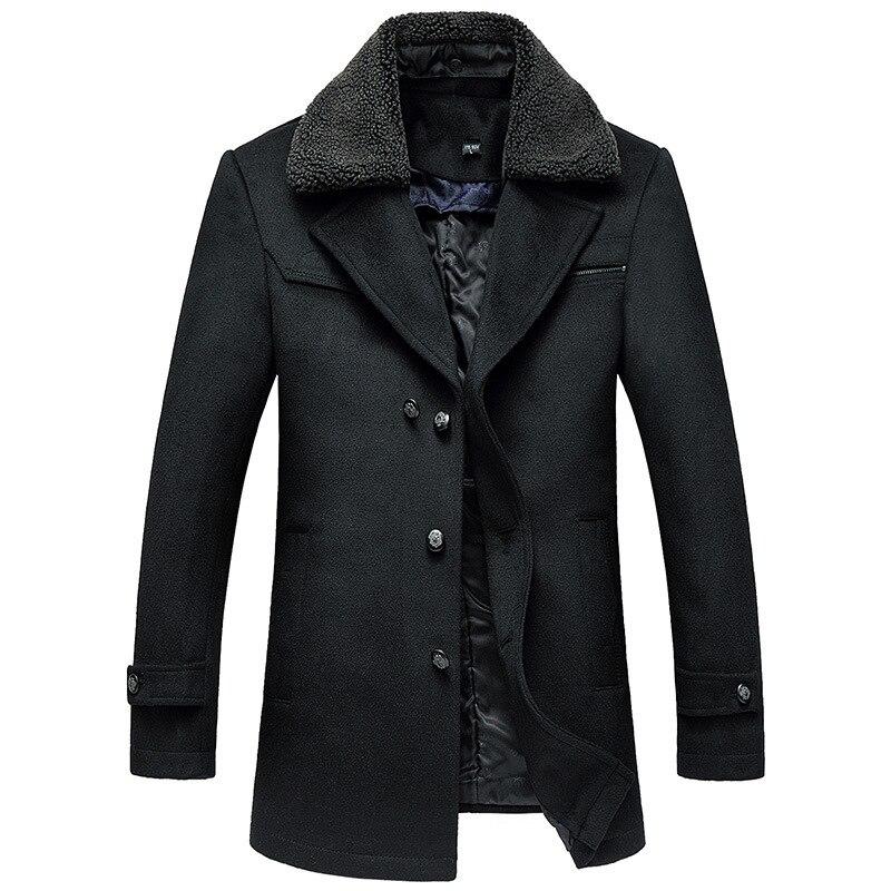2016 Winter New Turn Down Collar Veste Longue Homme Single Breasted Coat Men Winter Wool