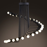 Nordic Retro Wrought Iron Industrial Chandelier Modern Art Stairs Spiral Shape Pendant Lamps for Cafe Bar restaurant living room