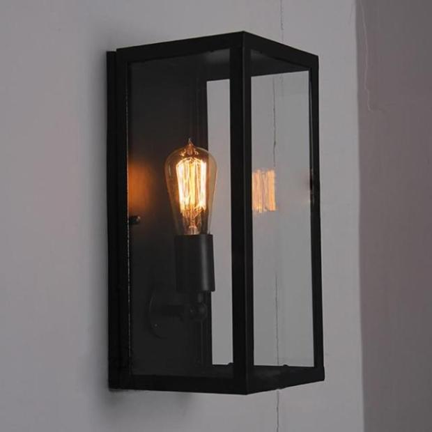 Clear Glass Cover Outdoor Retro Wall Light Metal Frame Glass Wall lamp Lighting Fixture Aisle ...