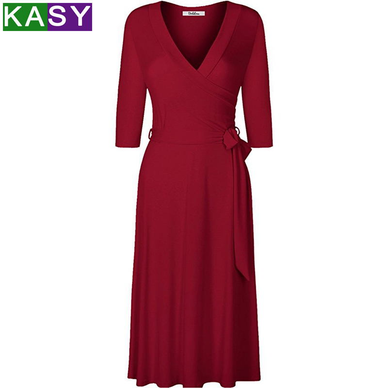 Spring summer dresses OL V neck solid bodycon slim elegant midi dress vestido casual women Belted Work dresses plus size 3XL in Dresses from Women 39 s Clothing