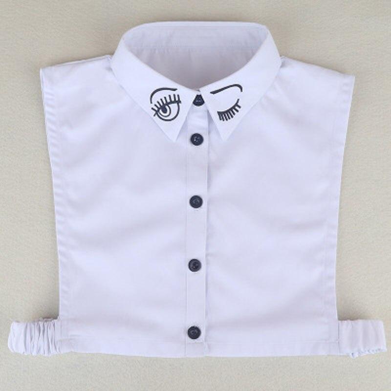 Fake Collar Women Half Shirt Vest Embroidery Smile Detachable False Collar Faux Col Chemisie Lapel Shirt Sweater Decoration Top