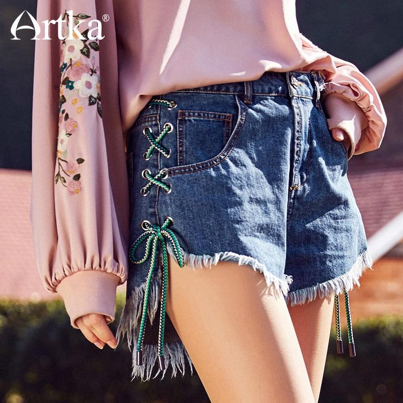 ARTKA Summer New Empire Waist Straight Denim Shorts With Rough Edges KN10283X