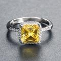 Желтый Принцесса Cut Имитация Алмазный Кольцо Оптовая 6 Шт. за Лот 3 Слоя Платиновым Покрытием ORW57