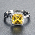 Yellow Princess Cut Simulated Diamond Ring Wholesale 6 Pieces per Lot 3 Layer Platinum Plated ORW57
