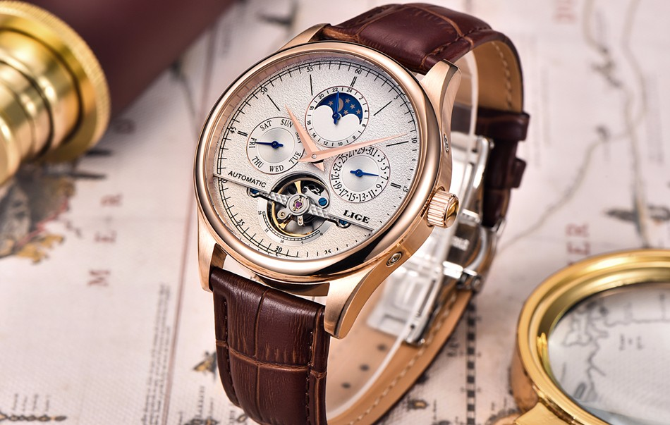 HTB1VwcEbiOYBuNjSsD4q6zSkFXaG LIGE Brand Men Watches Automatic Mechanical Watch Tourbillon Sport Clock Leather Casual Business Wrist Watch Gold Relojes Hombre
