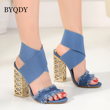 BYQDY Sexy Denim Women Sandals Clear Heel Crystal Elastic Band Shoes Rome Thick Heels Bohemia Ladies Open