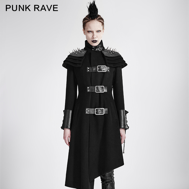 73c3e1775 US $154.0 30% OFF|PUNK RAVE Women Gothic Punk Asymmetric woolen Military  coats Jacket soft woolen PU leather cuff design on the sleeves-in Wool & ...