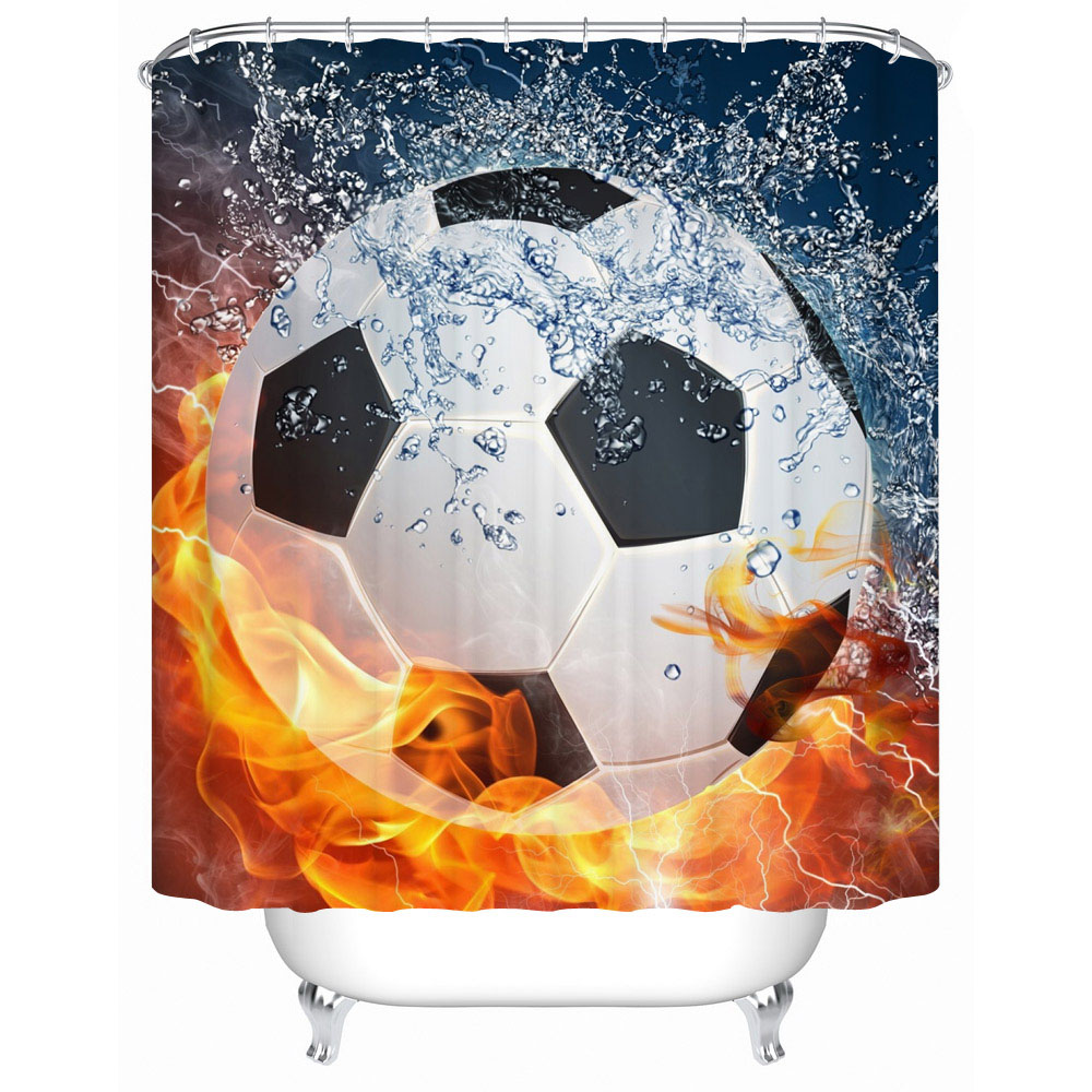 Sports shower curtain hooks - Sport Fan Fire Basketball 3d Fabric Shower Curtain Decor Waterproof Polyster Curtain For Bathroom Set