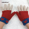New Children Soft Warm Patchwork Acrylic Winter Gloves High Quality Knitted Jacquard Mittens for Boys and Girls mitaine enfant