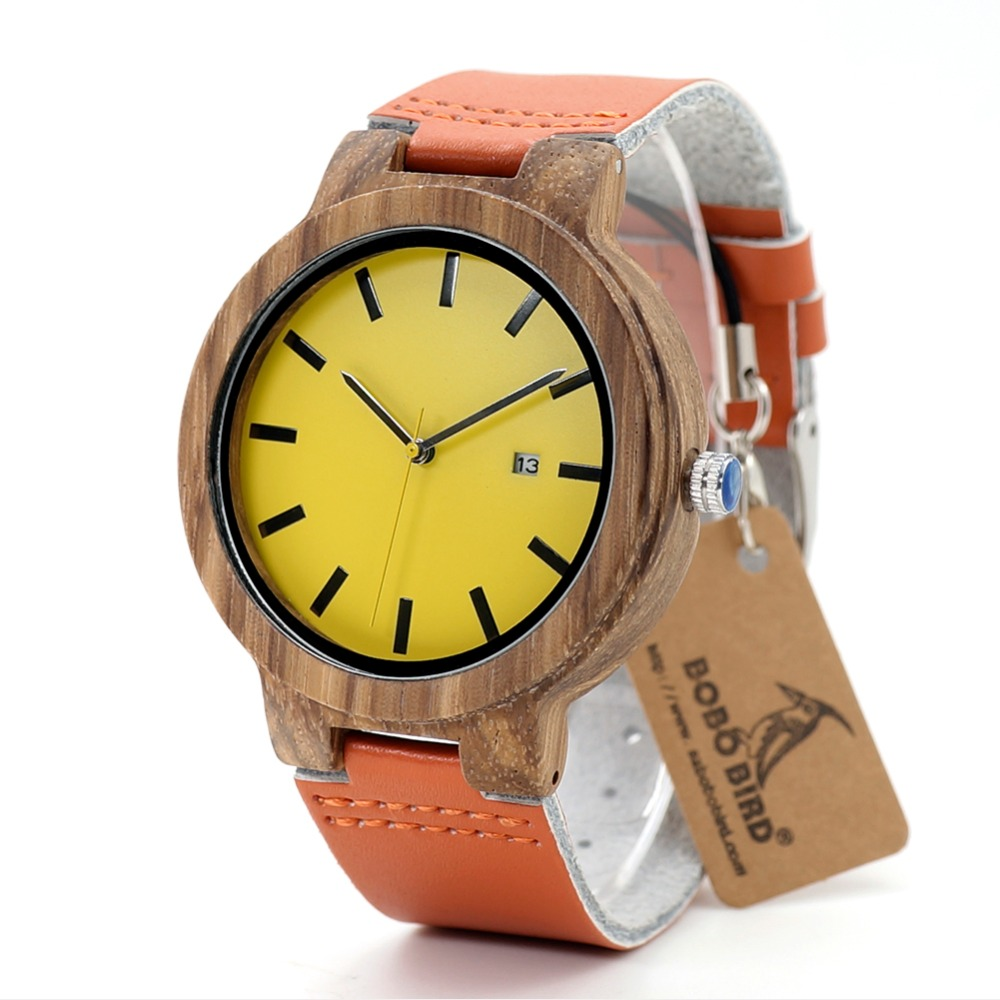 BOBO BIRD L-O09 Yellow Dial Ladies Watches With Calendar Design Zebra Wooden Watches For Men In Gift Box Drop Shipping