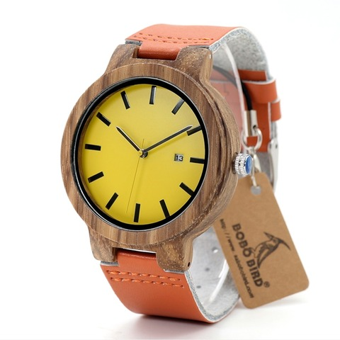 BOBO BIRD L-O09 Yellow Dial Ladies Watches with Calendar Design Zebra Wooden Watches for Men in Gift Box Drop Shipping Pakistan