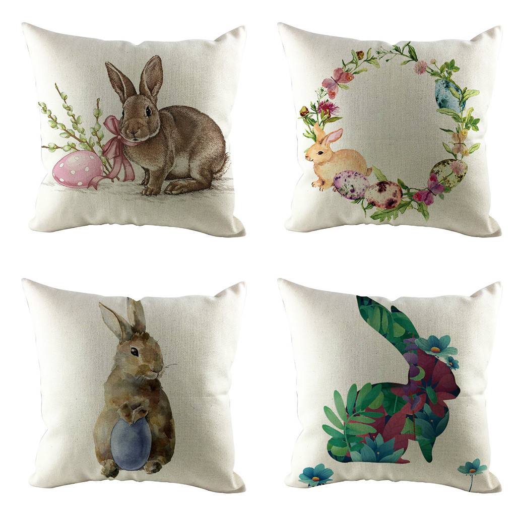 Ishowtienda Easter Sofa Bed Home Decoration Festival Rabbit Pillow Case Cushion Cover Happy Egg Printed Pillow Cover For 2019 Discounts Sale Home & Garden Cushion Cover