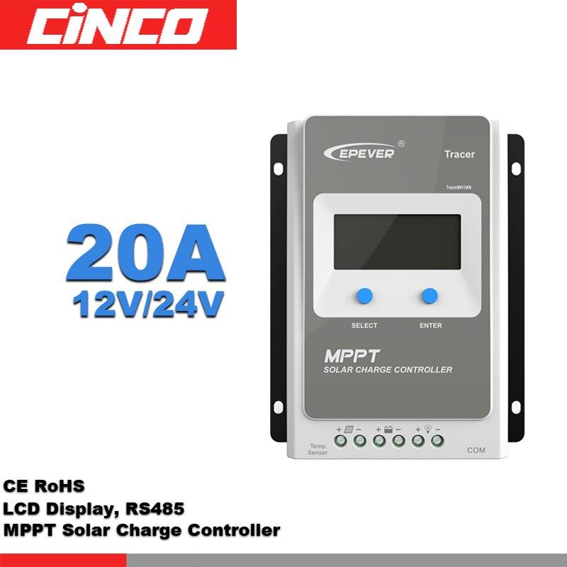 Tracer2210AN 20A 12 V/24 100 V MPPT contrôleur solaire avec affichage LCD RS485 télécommande dans l'ordinateur pour chargeur de batterie solaire