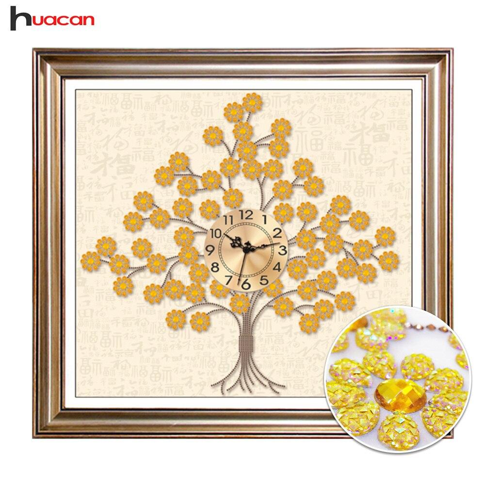 Huacan Clock Diamond Embroidery Full Kit Handmade Gift Special Shape Rhinestone Cross Stitch 5D Diamond Painting