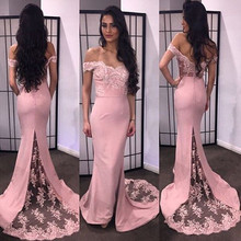 Weg von der Schulter Schatz-abschlussball-kleid Sleeveless Backless Mit Spitze Applique Satin Sweep Zug Elegante Abendkleider Formale Kleider