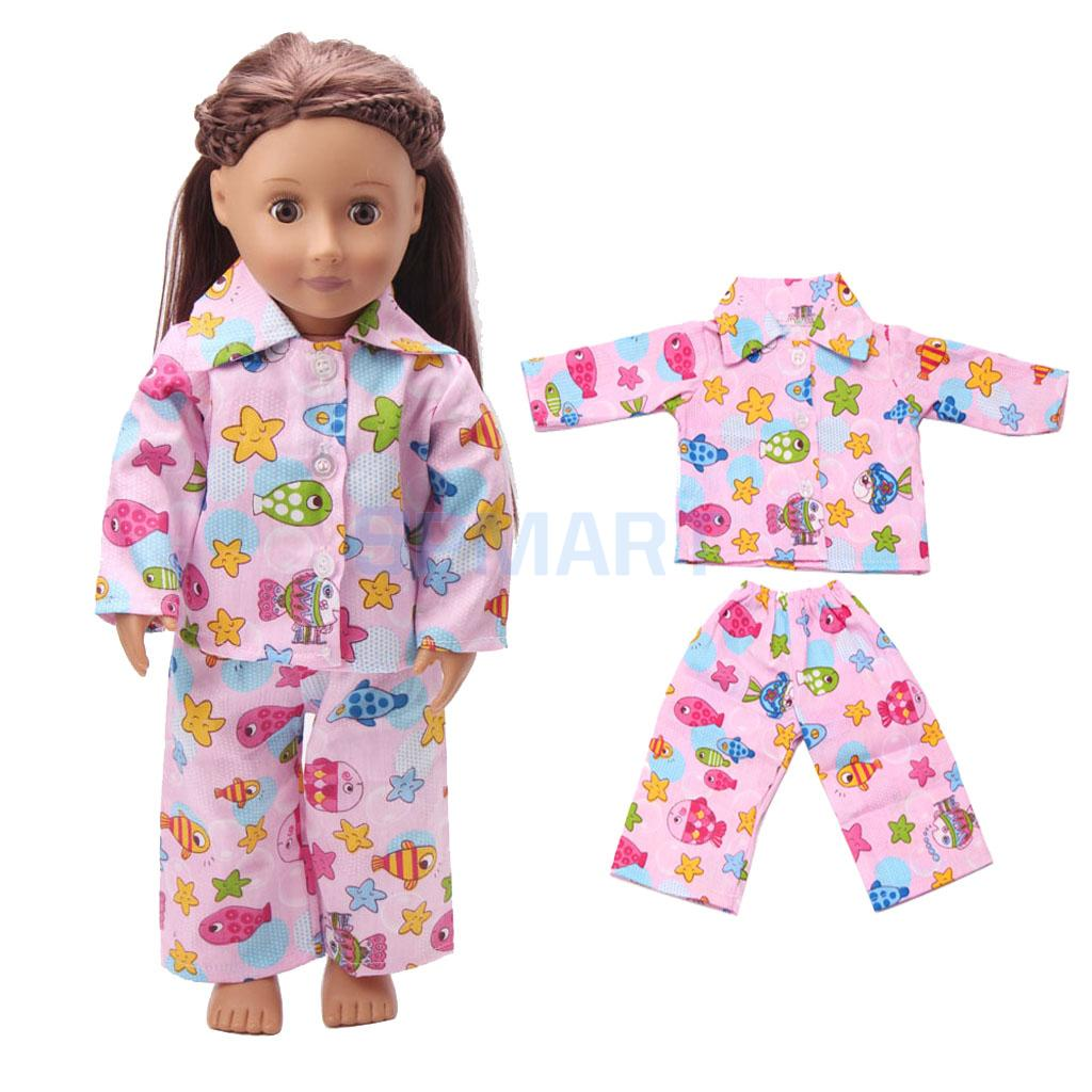 Pajama Outfit Clothes fits American Girl 18 Inch  Doll Sleeping Bag Bed