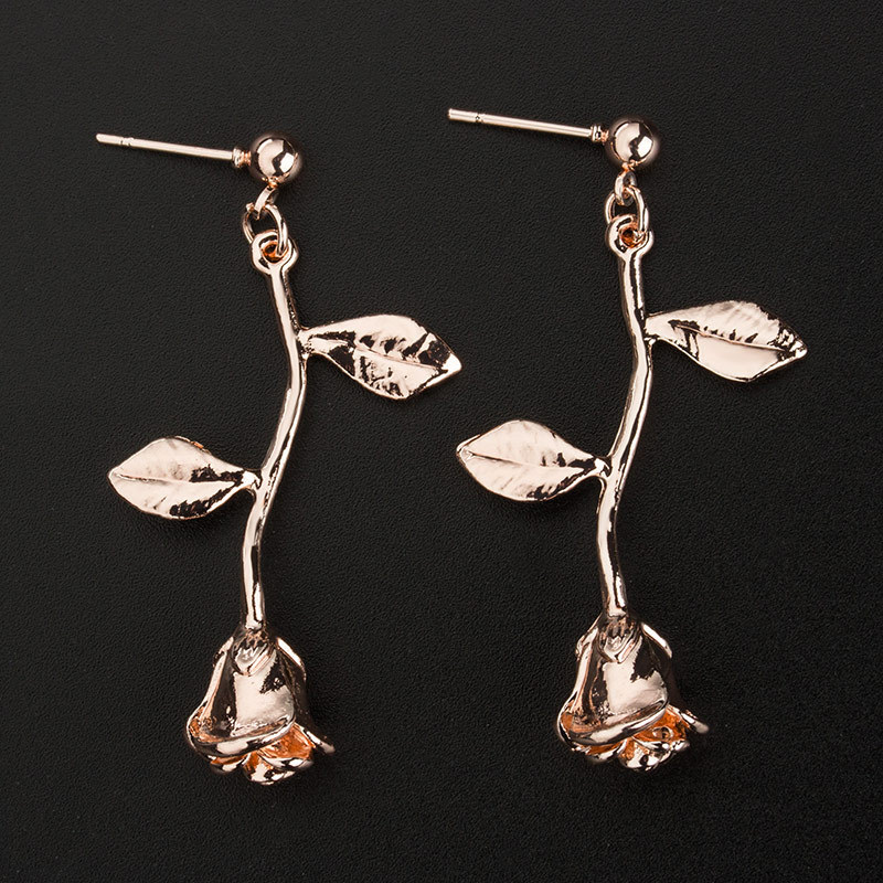 Latest Style For 2018 Alloy Flowers Leaves Hollowed Out Ethnic Earrings For Women Fashion Joker Rose Drop Earrings Qw 86 in Drop Earrings from Jewelry Accessories