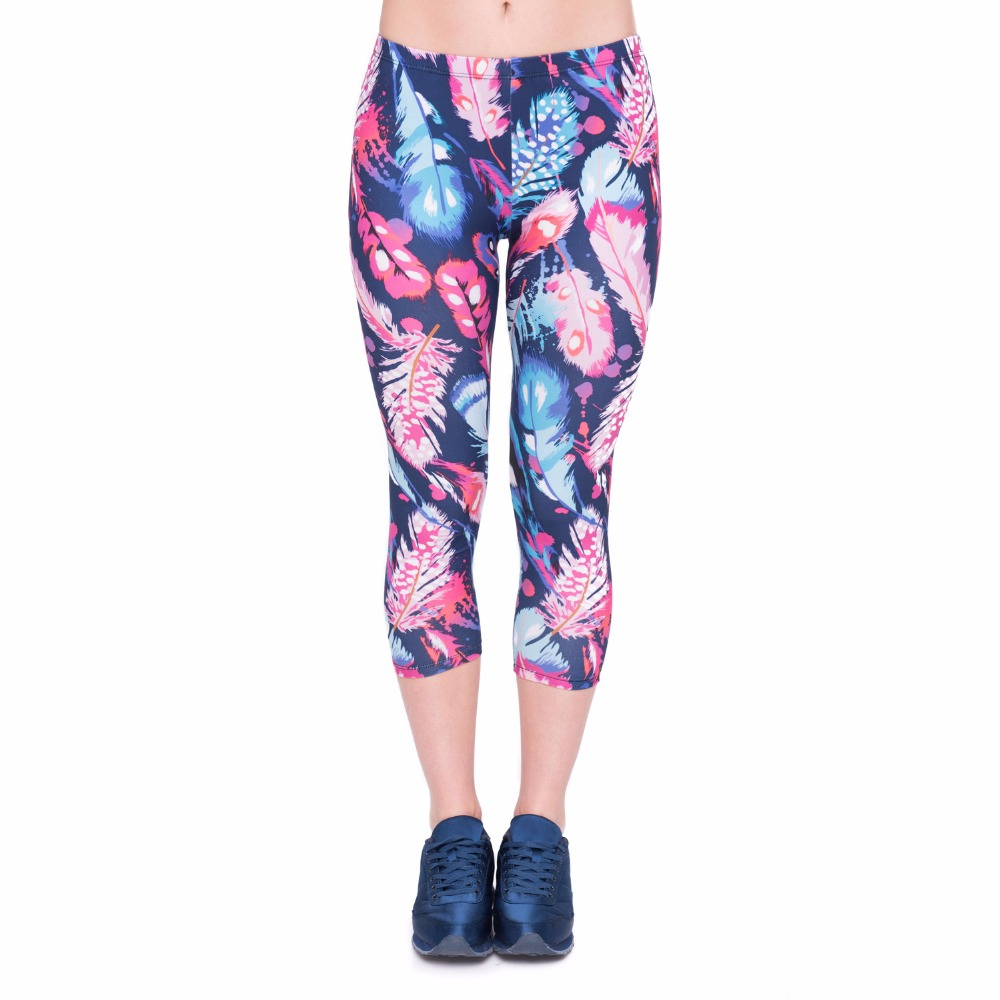 Summer Women Capri   Leggings   Feathers Color Printing Sexy Mid-Calf 3/4 Fitness Trousers Movement Leggins Capri Pants