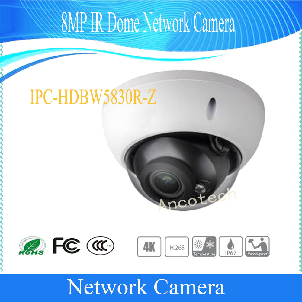 Free Shipping DAHUA Security IP Camera CCTV 8MP IR Dome Network Camera with POE IP67 IK10 Without Logo IPC-HDBW5830R-Z free shipping dh security ip camera 2mp 1080p ir mini dome network camera ip67 ik10 with poe without logo ipc hdbw4231f as