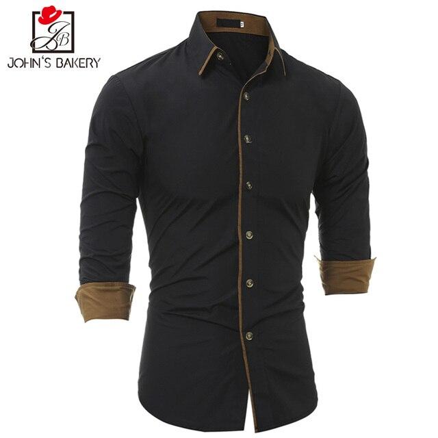 Camisa dos homens Marca 2017 Masculino de Alta Qualidade Camisa de Manga Longa Casuais Homem Camisas de Vestido Camisa Masculina Cor sólida Slim Fit Preto 3XL