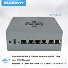 Qotom DIY Powerful Firewall Router Appliance Q600G6 Barebone System Support 6th 7th Gen Processor DDR4 RAM M.2 SSD Pfsense