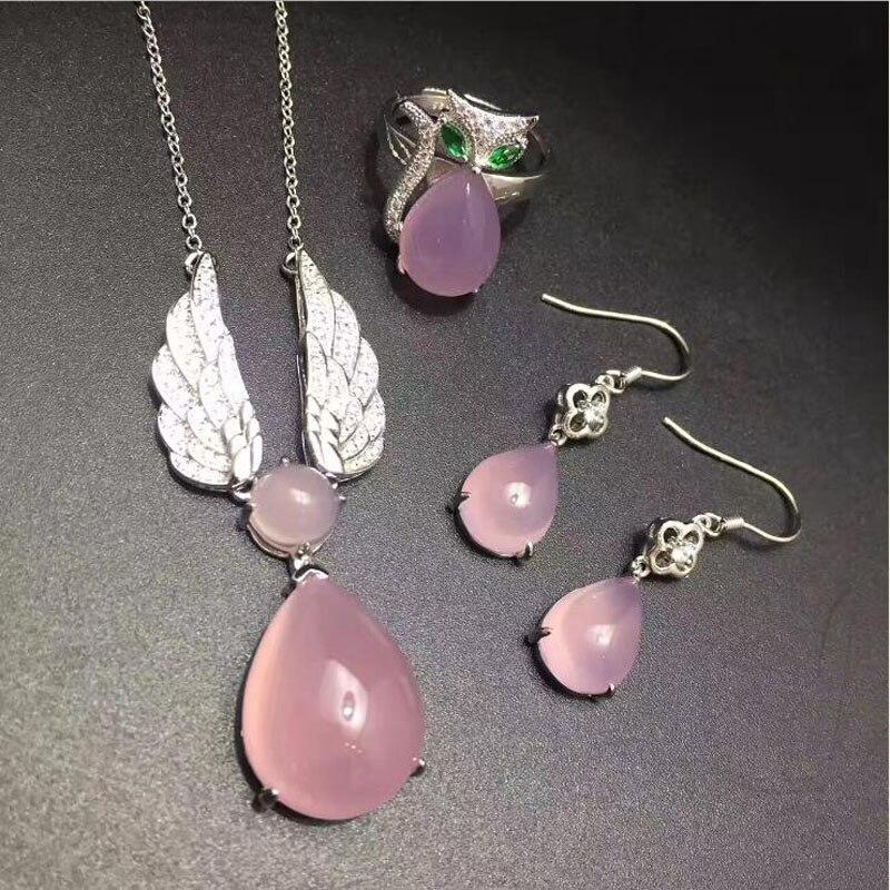 yu xin yuan chalcedony 925 silver inlaid font b ring b font earrings necklace fine font