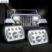 7 inch Chrome Headlight LED Rectangular 7x6 Replacement DRL H6054 H5054 Fit Any Car or Truck that has 7x6 inch inch Headlamps
