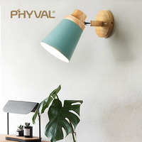 wooden wall lights bedside wall lamp wall sconce modern wall light for bedroom Nordic macaroon 6 color steering head E27 85 285V