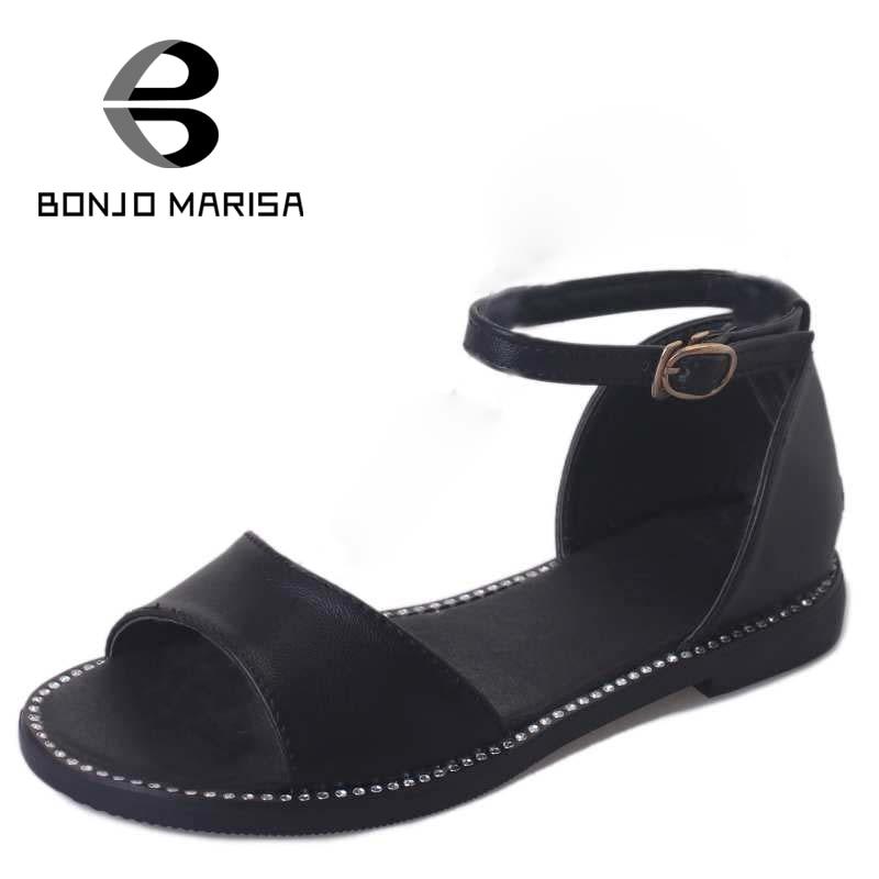 ФОТО Vintage Ankle Strap Flat Heel Women Summer Shoes Woman Buckle Up Rubber Sole Open Toe Platform Sandals