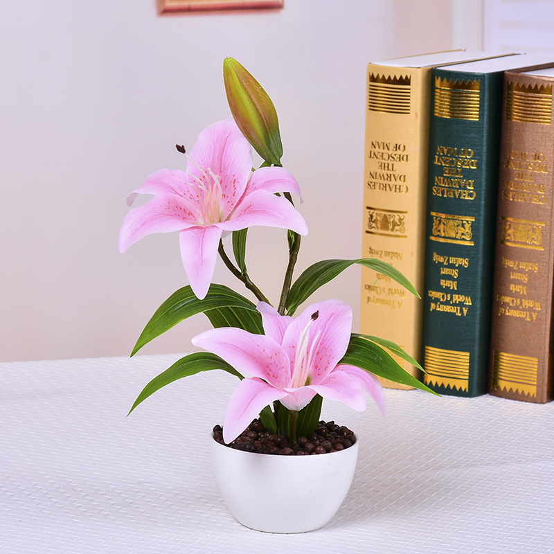 European style floral living room home furnishings PU lily potted ...