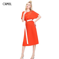 ORMELL Pleated Chiffon Summer Dress Women 2017 Ladies Fashion Solid Color Round Neck Bat Sleeve Sashes
