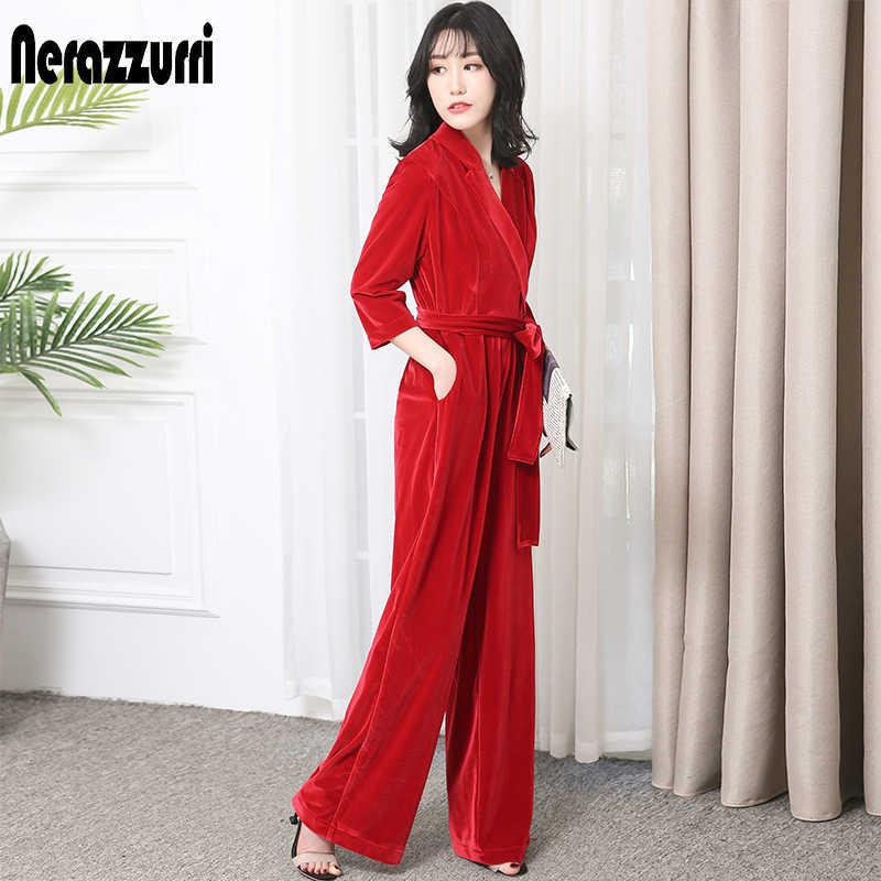Nerazzurir длинный бархатный комбинезон с рукавами для женщин 2019 элегантный красный черный плюс размер широкие пояса Макси Пол Длина Комбинезон