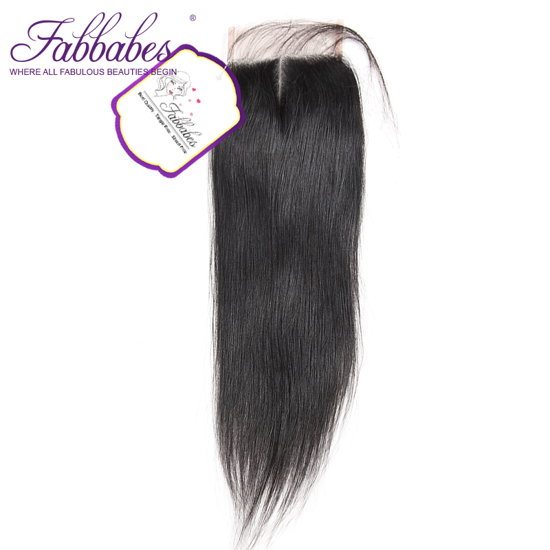 Fabbabes Lace Closure Brazilian Straight Human Remy Hair Natural Color 4x4 Middle Part with baby hair Shipping Free
